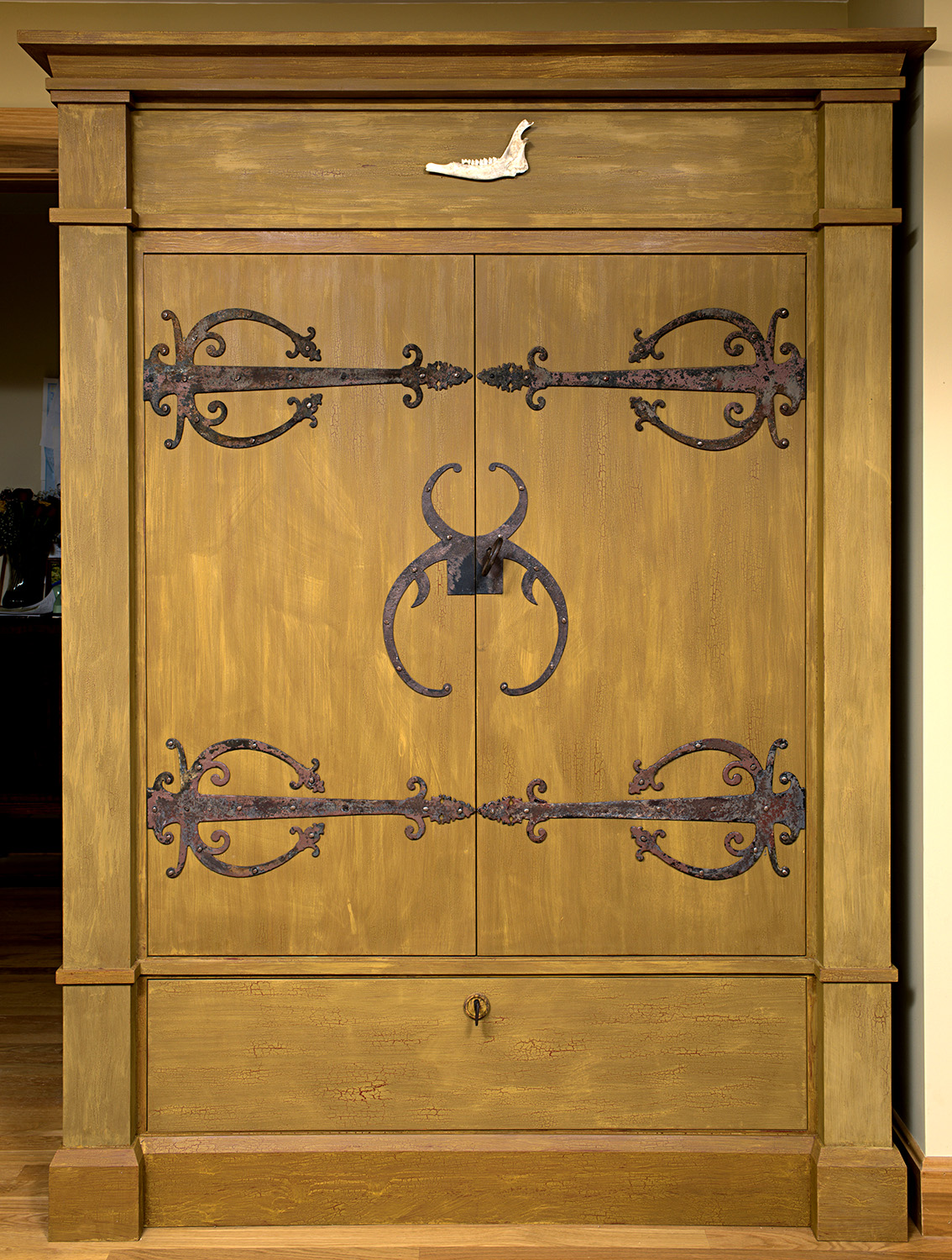 Barn door strap hinges - A Turn Of The Century Scandinavian Inspired Design This Armoire Has Retractable Doors With Decorative Strap Hinge Hardware Salvaged From An Old Barn In